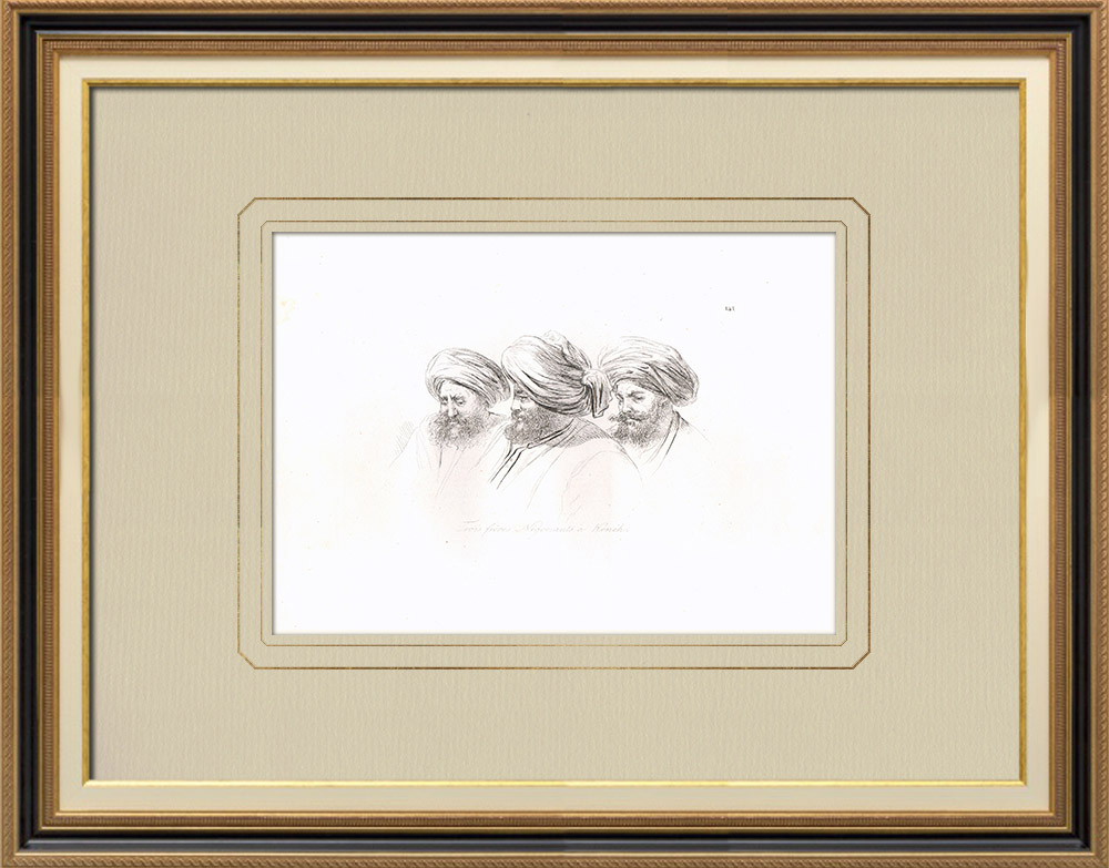 Gravures Anciennes & Dessins | Portraits d'Arabes - Trois frères à Kénèh - Qena (Egypte) | Gravure sur cuivre | 1830
