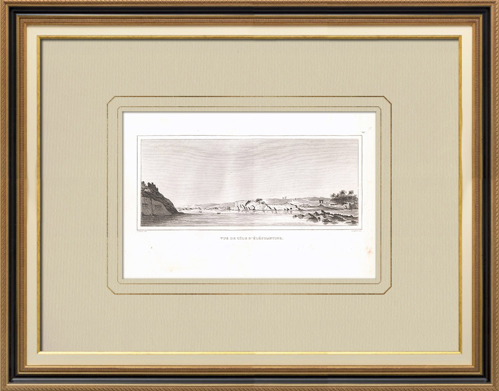 Oude Prenten & Tekeningen | Gezicht op Elephantine - Nijl (Egypte) | Kopergravure | 1830