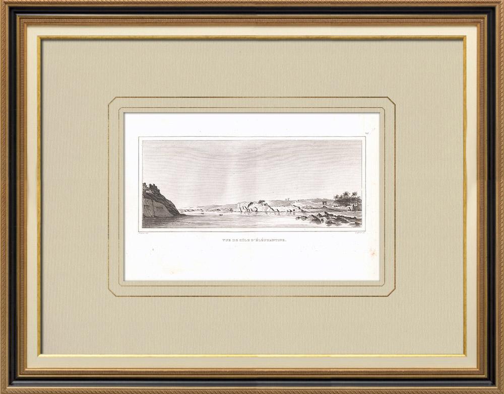 Antika Tryck & Ritningar | Vy över Elephantine - Nilen (Egypten) | Kopparstick | 1830