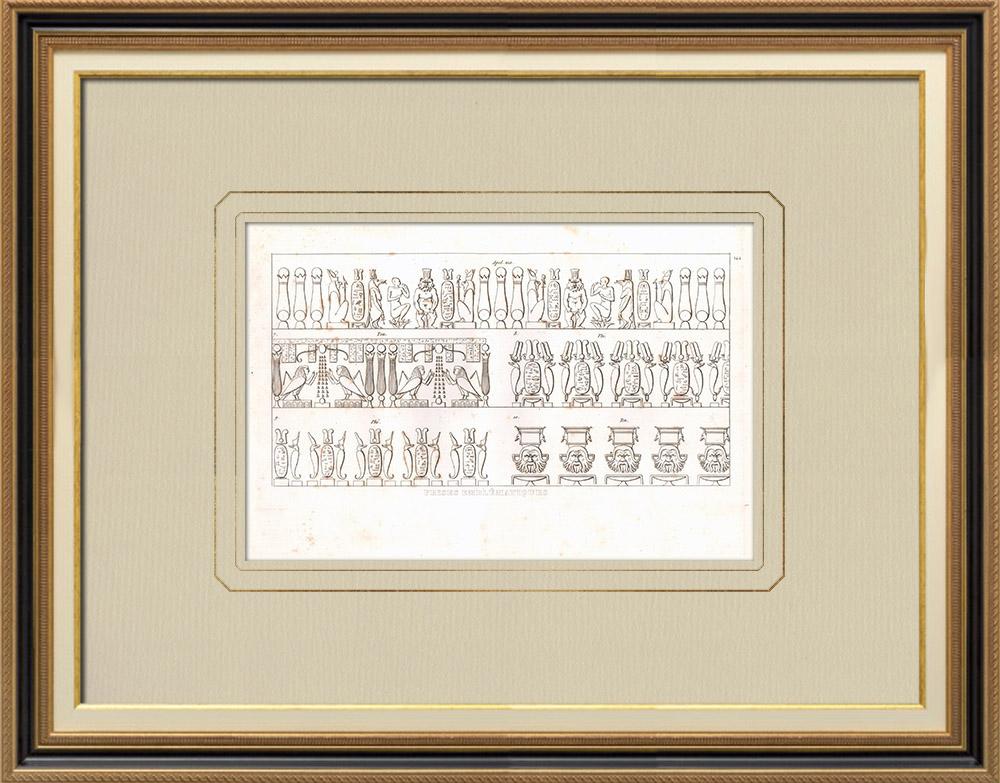 Stare Grafiki & Rysunki   Fryzy - Sztuka Starożytnego Egiptu (Egipt)   Miedzioryt   1830