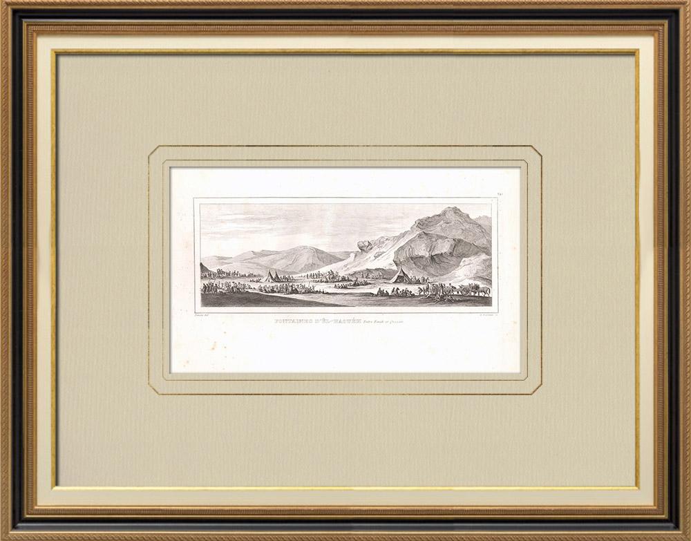 Oude Prenten & Tekeningen | Fontein van Êl Adhout Tussen Kaine en Qosseïr (Egypte) | Kopergravure | 1830