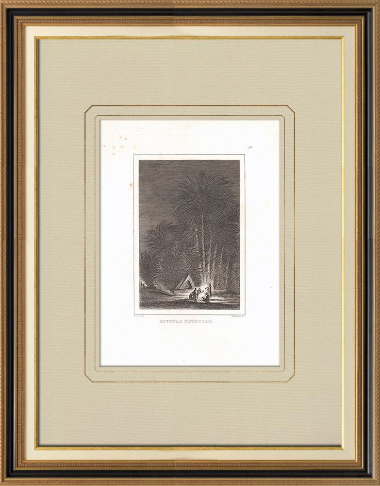 Stare Grafiki & Rysunki | Biwak w Egipcie | Miedzioryt | 1830