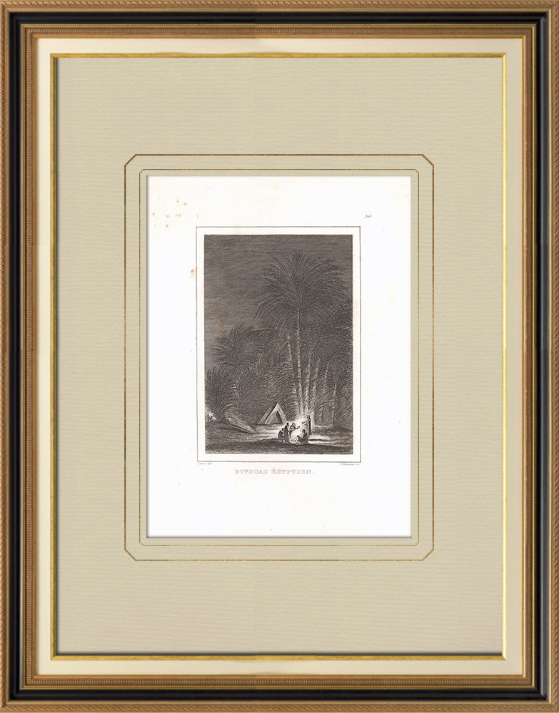 Grabados & Dibujos Antiguos | Vivac en Egipto | Grabado calcográfico | 1830
