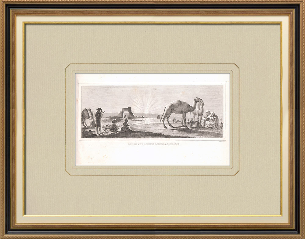 Antique Prints & Drawings | Denon visiting the ruins of Hierakonpolis (Egypt) | Copper engraving | 1830