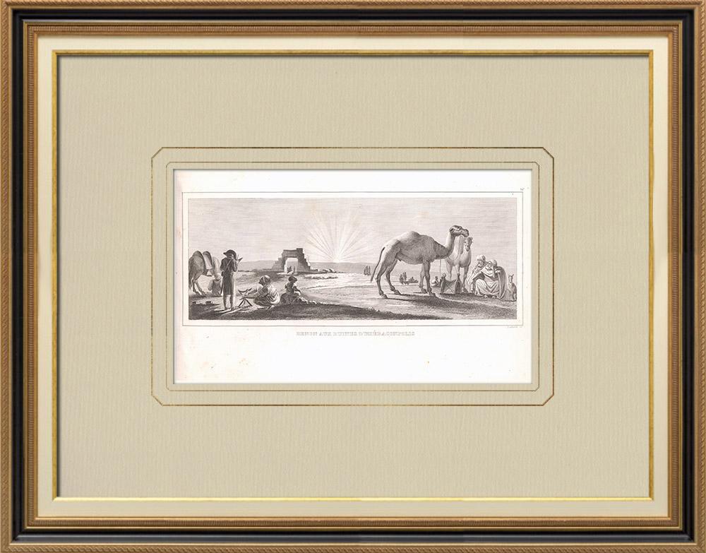 Gravuras Antigas & Desenhos | Denon visitando as ruínas de Hieracômpolis (Egito) | Gravura em buril sobre cobre | 1830