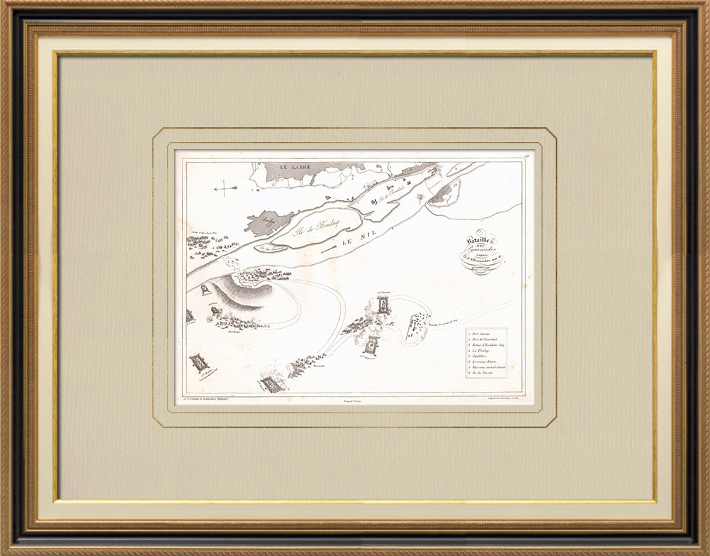 Antique Prints & Drawings | Plan of the PyramidsBbattle - Mamluks - 1798 (Egypt) | Copper engraving | 1830