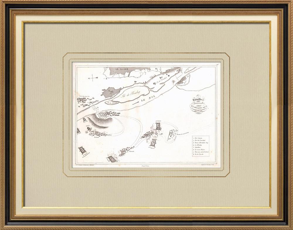 Grabados & Dibujos Antiguos | Plano de la Batalla de las Pirámides - Mamelucos - 1798 (Egipto) | Grabado calcográfico | 1830