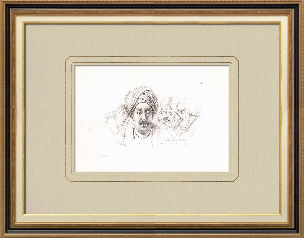 Stare Grafiki & Rysunki | Portrety Arabskie - Kopt - Szejkowie (Egipt) | Miedzioryt | 1830