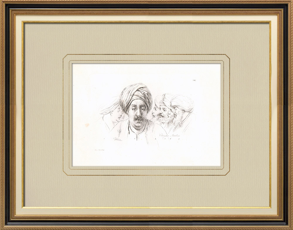 Grabados & Dibujos Antiguos | Retratos de Árabes - Copto - Jeques (Egipto) | Grabado calcográfico | 1830