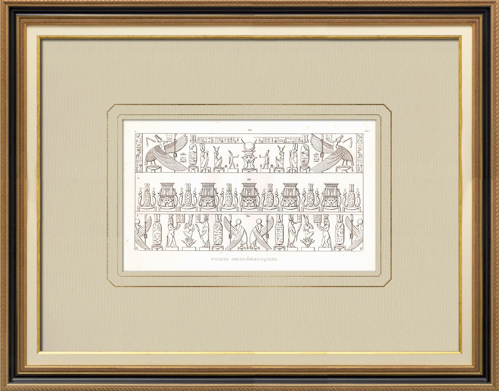 Antika Tryck & Ritningar | Fresk - Forntida egyptisk konst (Egypten) | Kopparstick | 1830