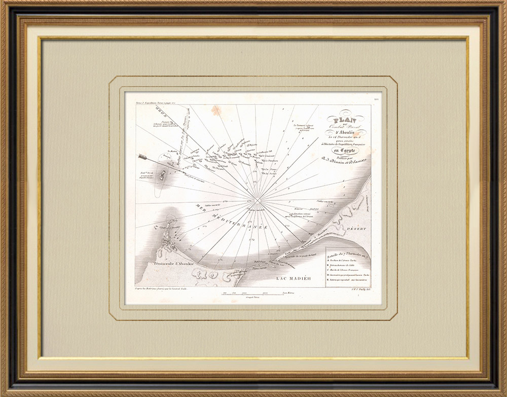 Grabados & Dibujos Antiguos | Mapa antiguo de la batalla naval de Aboukir - 1798 (Egipto) | Grabado calcográfico | 1830