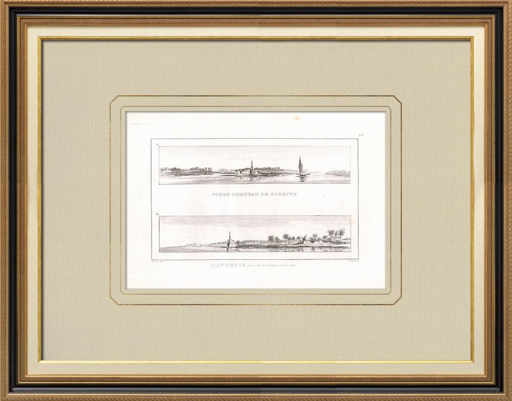 Gravuras Antigas & Desenhos | Vista de Roseta - Rashid (Egito) | Gravura em buril sobre cobre | 1830