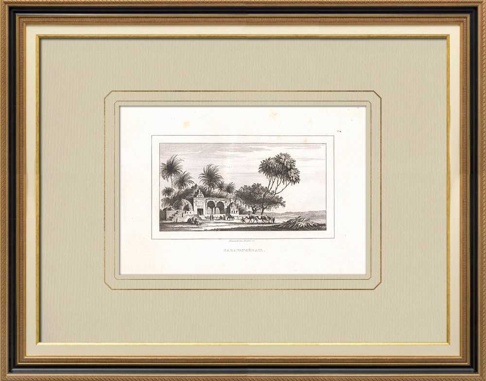 Antique Prints & Drawings | A Caravansary (Egypt) | Copper engraving | 1830