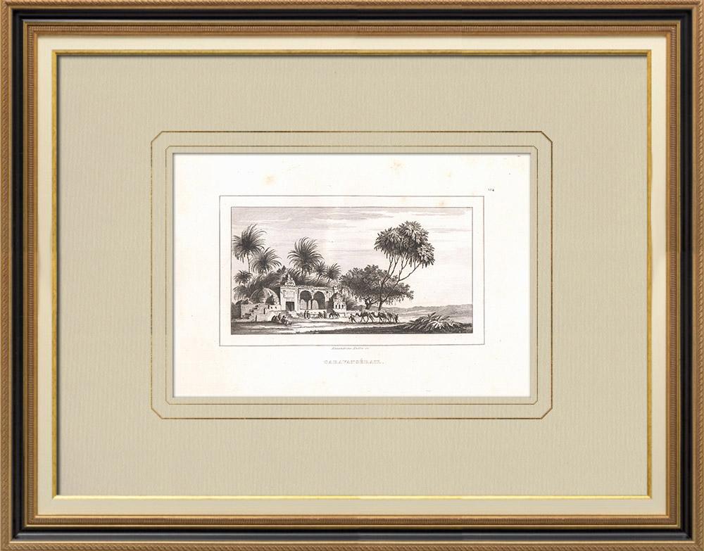 Gravures Anciennes & Dessins | Un Caravansérail (Egypte) | Gravure sur cuivre | 1830
