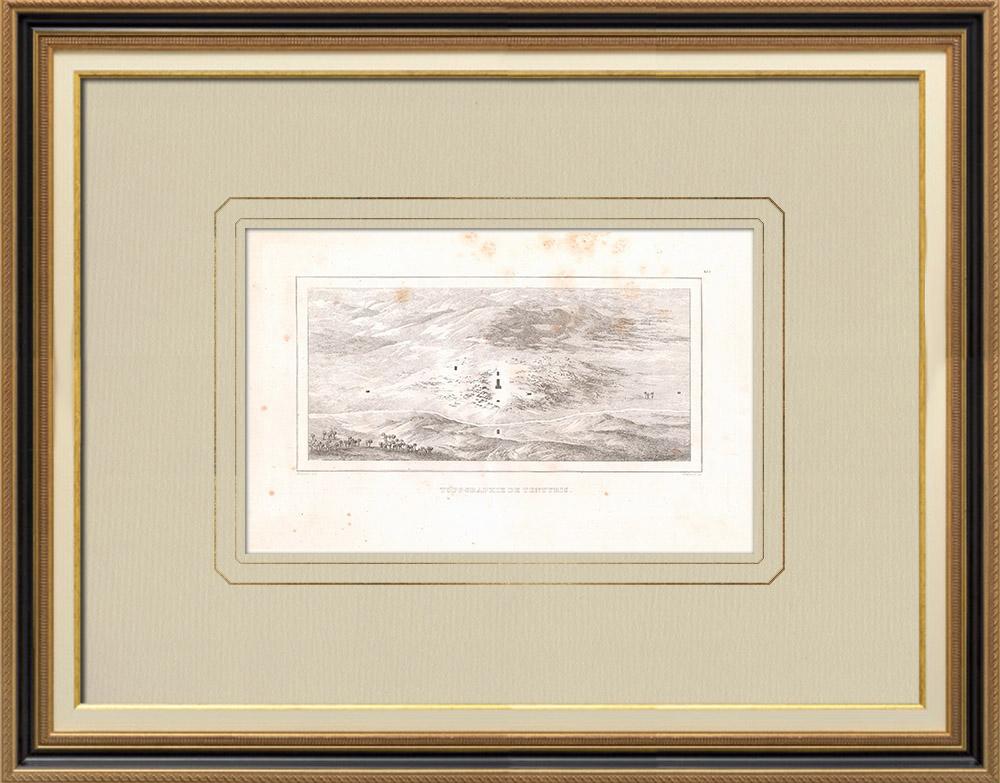 Gravures Anciennes & Dessins | Topographie de Tentyris - Dendérah (Egypte) | Gravure sur cuivre | 1830