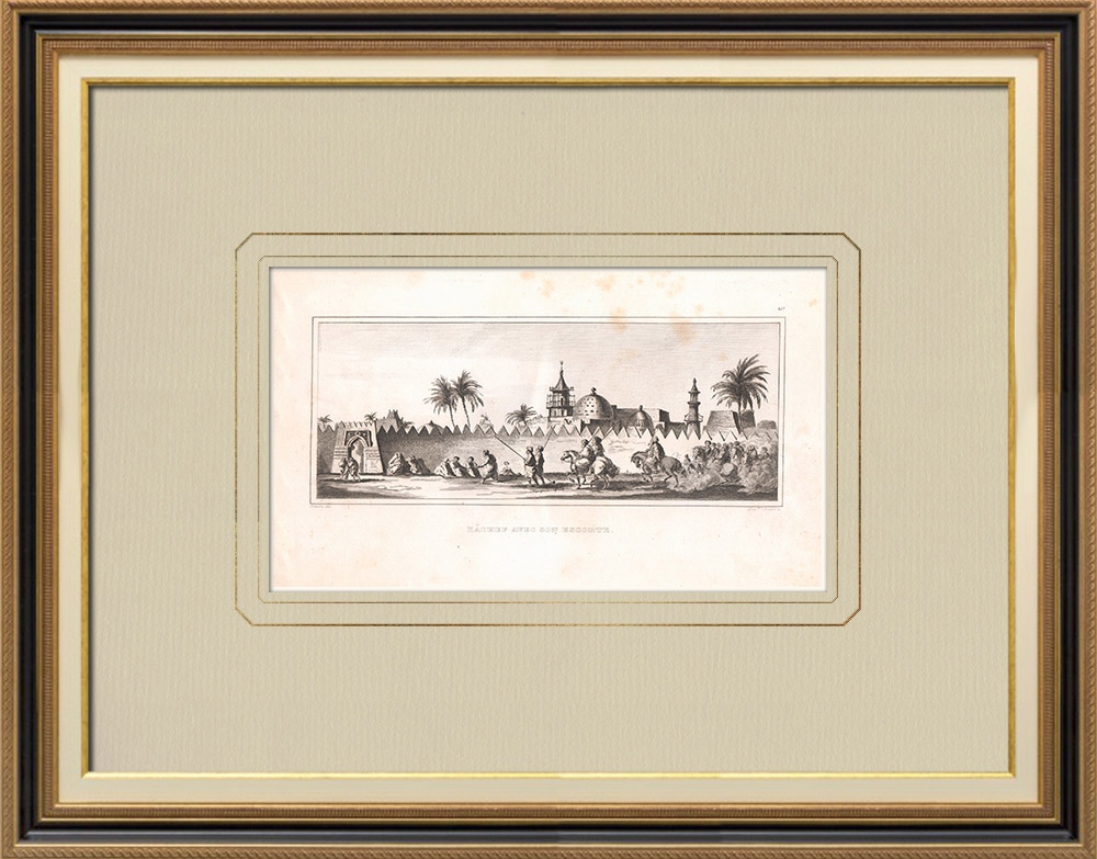 Oude Prenten & Tekeningen | Kâchef met Zijn Escorte in Girgéh (Egypte) | Kopergravure | 1830