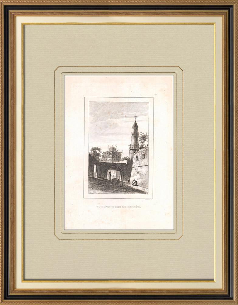 Stare Grafiki & Rysunki   Ulica w Girgéh (Egipt)   Miedzioryt   1830