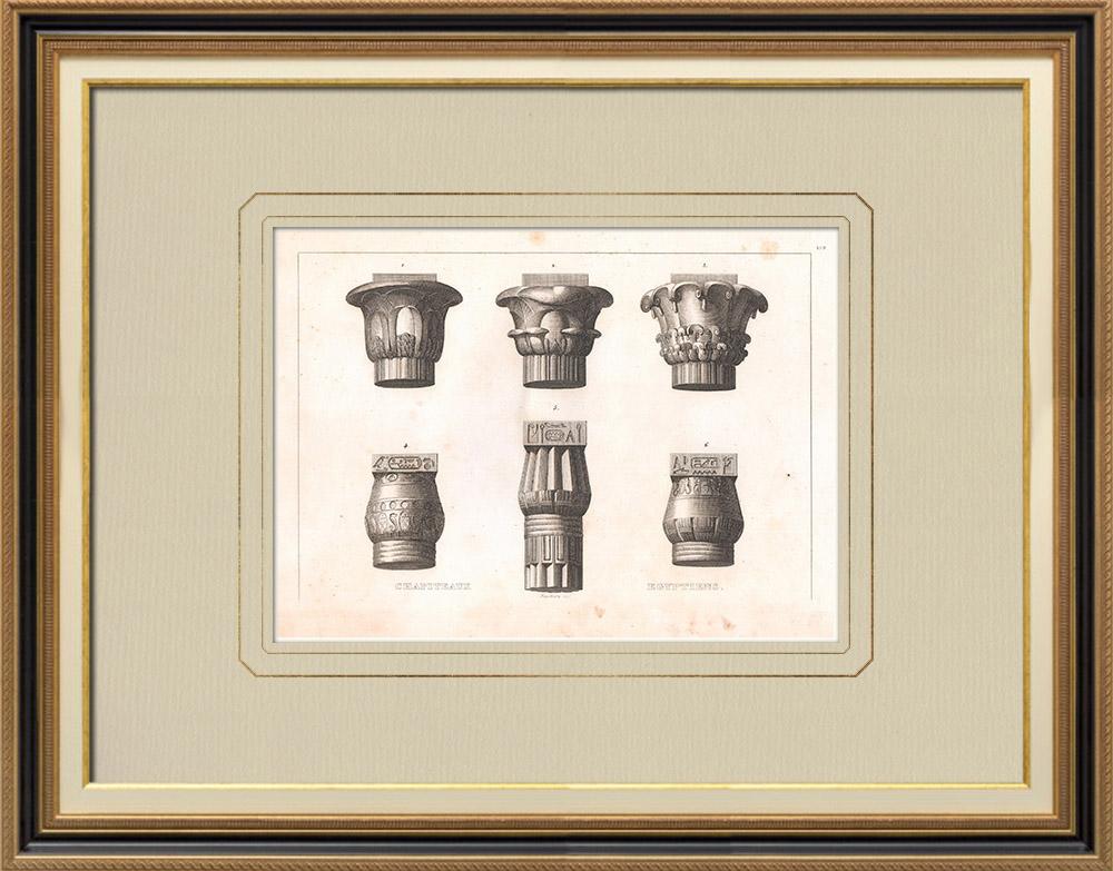 Grabados & Dibujos Antiguos | Capitales egipcias - Antiguo Egipto - Arquitectura (Egipto) | Grabado calcográfico | 1830