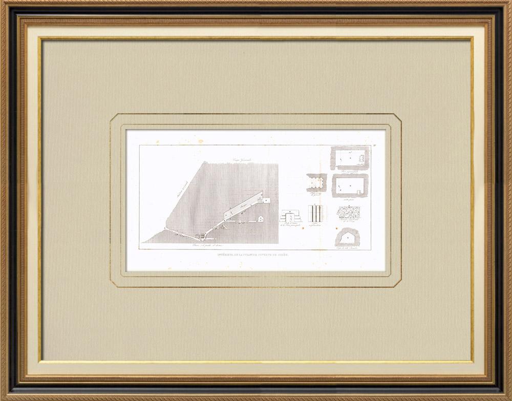 Stare Grafiki & Rysunki | Wnętrze Wielkiej Piramidy w Gizie - Piramida Cheopsa (Egipt) | Miedzioryt | 1830