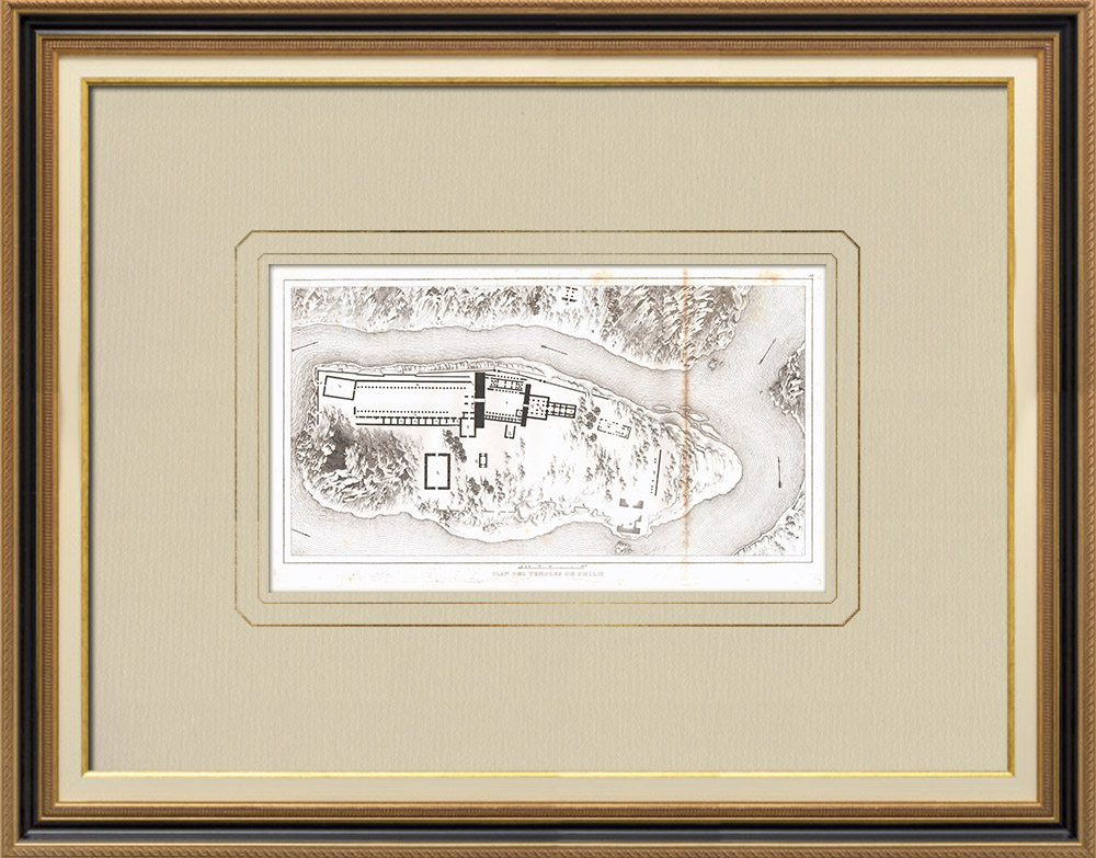 Gravuras Antigas & Desenhos | Planta dos Templos de Filae - Templo de Ísis (Egito)  | Gravura em buril sobre cobre | 1830