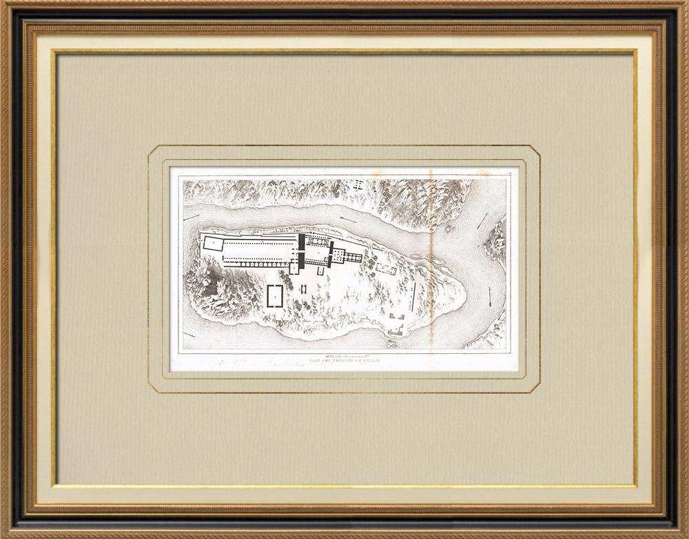 Antique Print & Etching | Philaé-Tempelplan - Isis-Tempel (Ägypten) | Kupferstich | 1830