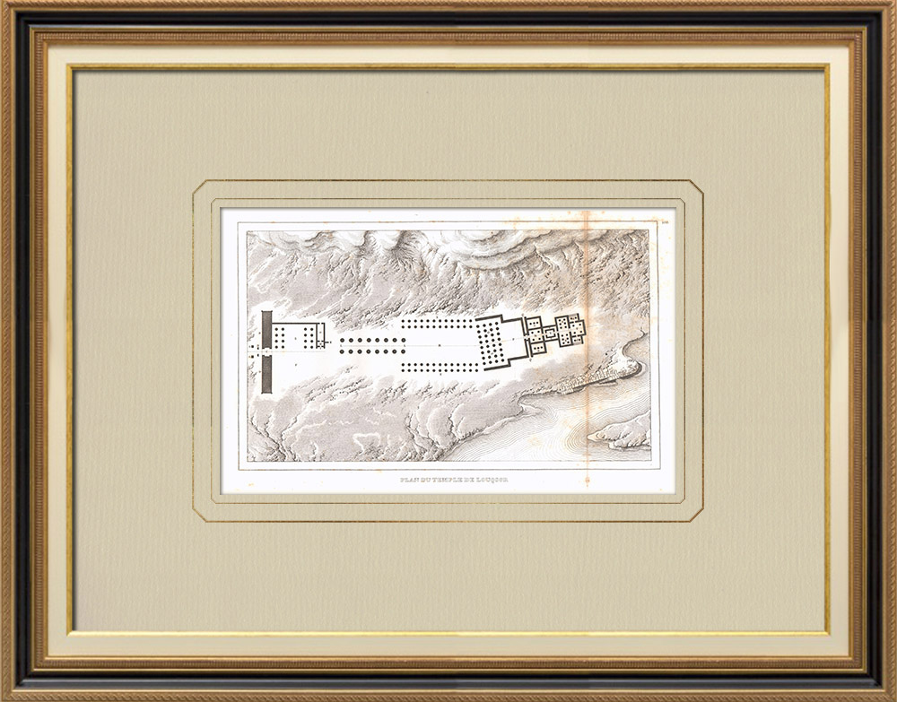 Antique Prints & Drawings | Plan of the Luxor Temple (Egypt) | Copper engraving | 1830