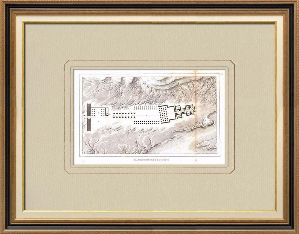 Gravures Anciennes & Dessins | Plan du Temple d'Amon à Louxor (Egypte) | Gravure sur cuivre | 1830