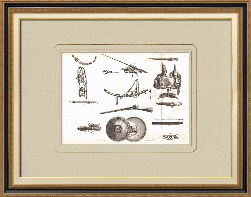 Grabados & Dibujos Antiguos | Armamento de los Mamelucos (Egipto) | Grabado calcográfico | 1830