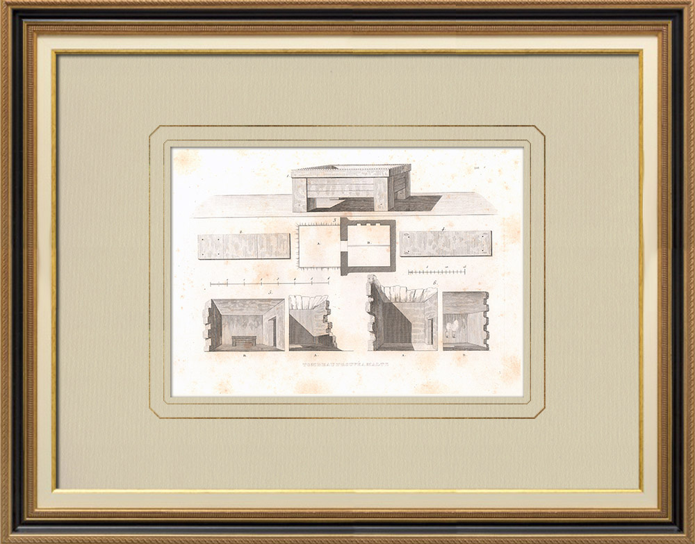 Gravuras Antigas & Desenhos | Tumba encontrada em Malta (Malta) | Gravura em buril sobre cobre | 1830