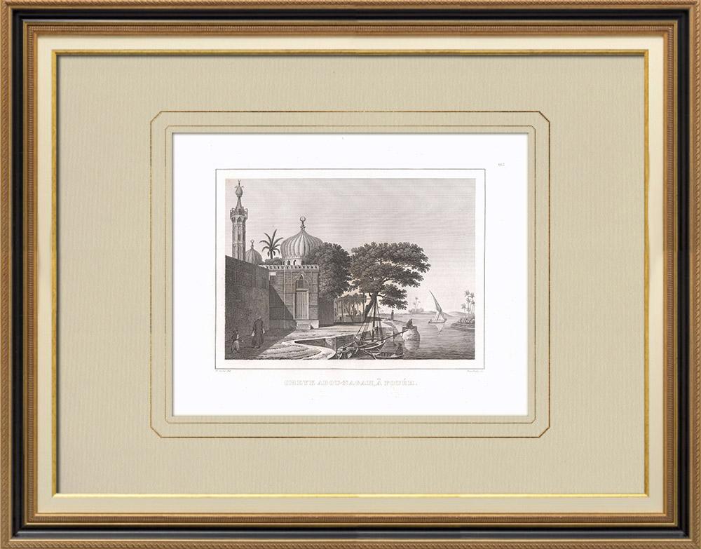 Grabados & Dibujos Antiguos | Tumba del Jeque Abou-Nagah en Fouéh (Egipto) | Grabado calcográfico | 1830