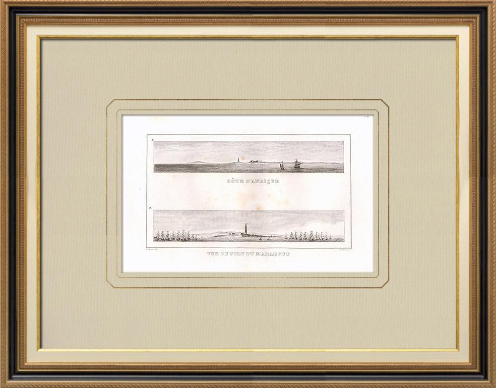 Gravuras Antigas & Desenhos | Forte de Marabout - Assalto de Alexandria - 1798 - Campanha de Egipto (Egito) | Gravura em buril sobre cobre | 1830