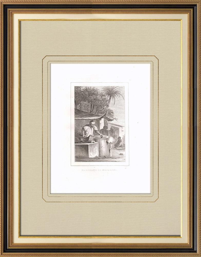 Oude Prenten & Tekeningen | Macaroni-handelaar (Egypte) | Kopergravure | 1830