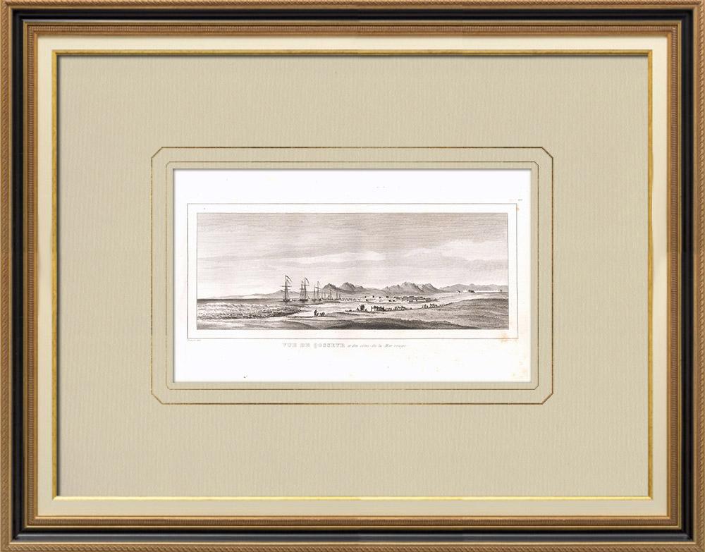 Gravuras Antigas & Desenhos | Vista de El Qusair - Mar Vermelho (Egito) | Gravura em buril sobre cobre | 1830