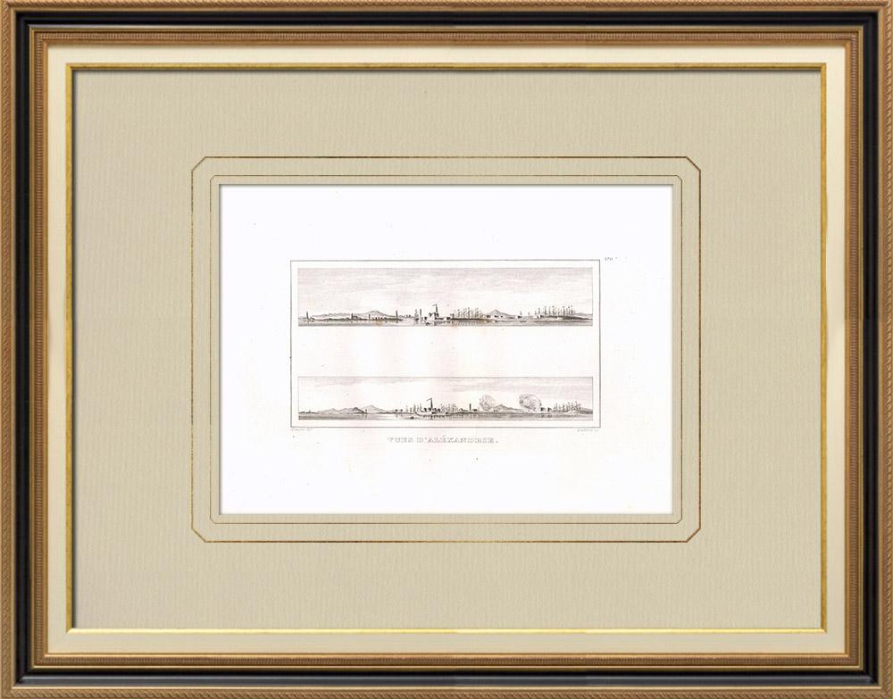 Antika Tryck & Ritningar | Vy över Alexandria (Egypten) | Kopparstick | 1830