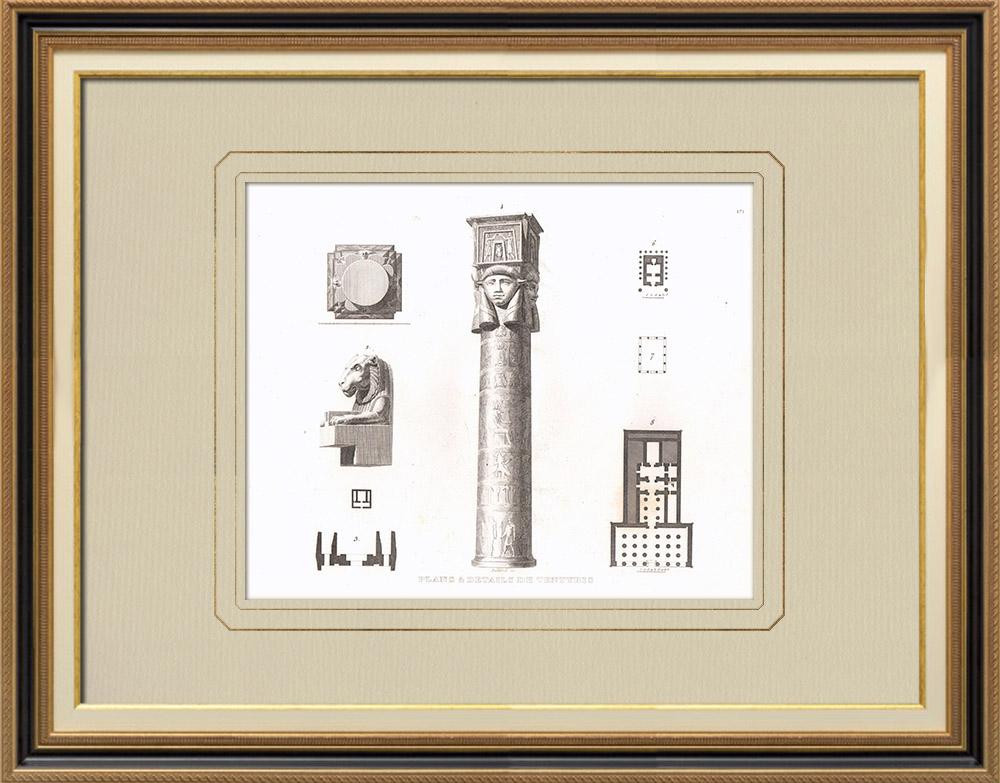 Grabados & Dibujos Antiguos | Plano del Templo de Dendera - Tentyris (Egipto) | Grabado calcográfico | 1830
