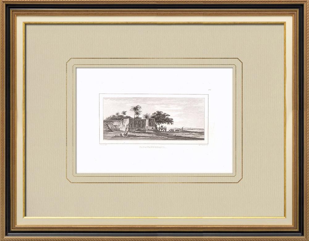 Grabados & Dibujos Antiguos   Uno Caravasar (Egipto)   Grabado calcográfico   1830