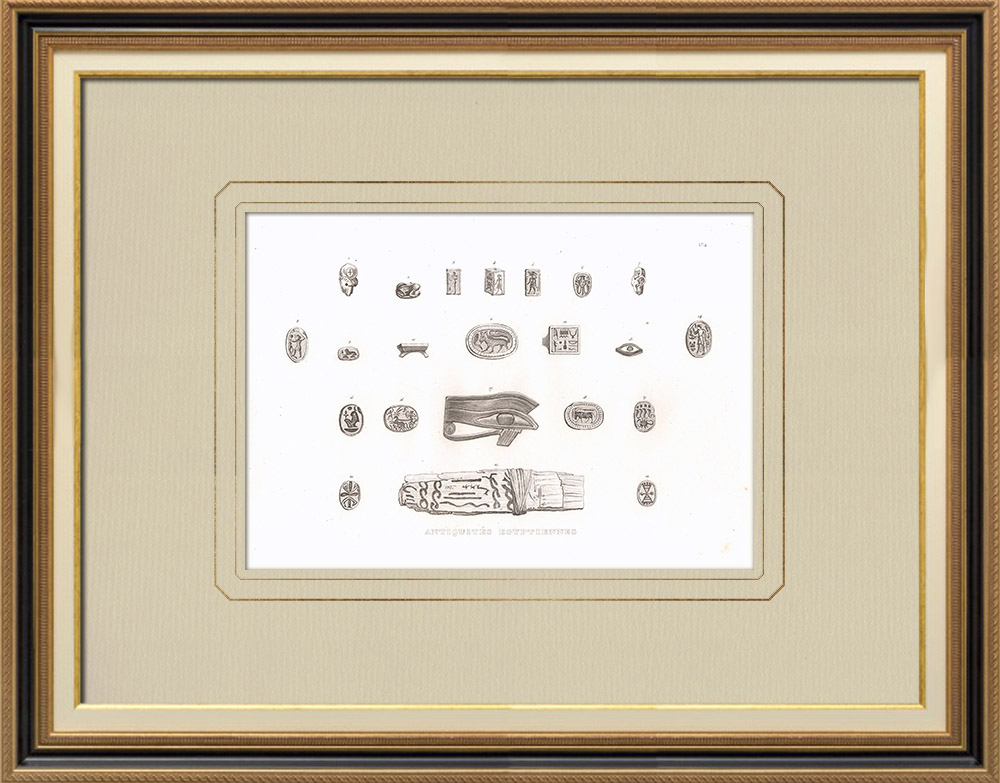 Antika Tryck & Ritningar | Egyptiska antikviteter (Egypten) | Kopparstick | 1830