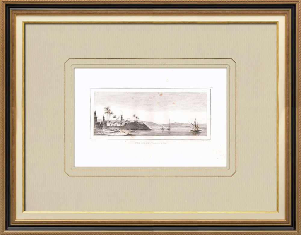 Stare Grafiki & Rysunki | Widok Beni Suef - Nil (Egipt) | Miedzioryt | 1830