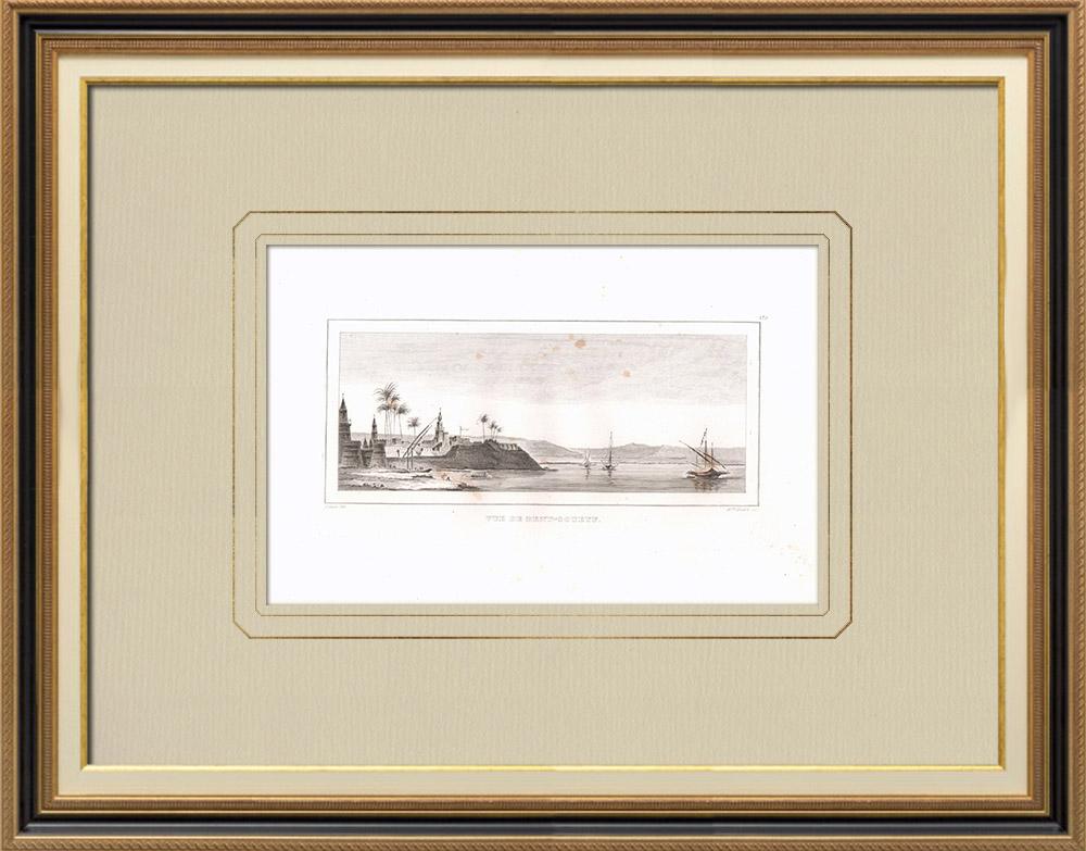 Antika Tryck & Ritningar | Vy över Beni Suef - Nilen (Egypten) | Kopparstick | 1830