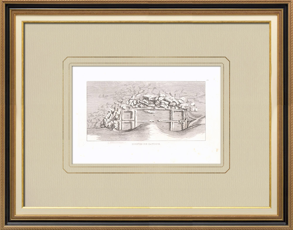 Antique Prints & Drawings | Ruins of Canopus - Alexandria - Napoleonic Campaign in Egypt (1801) | Copper engraving | 1830