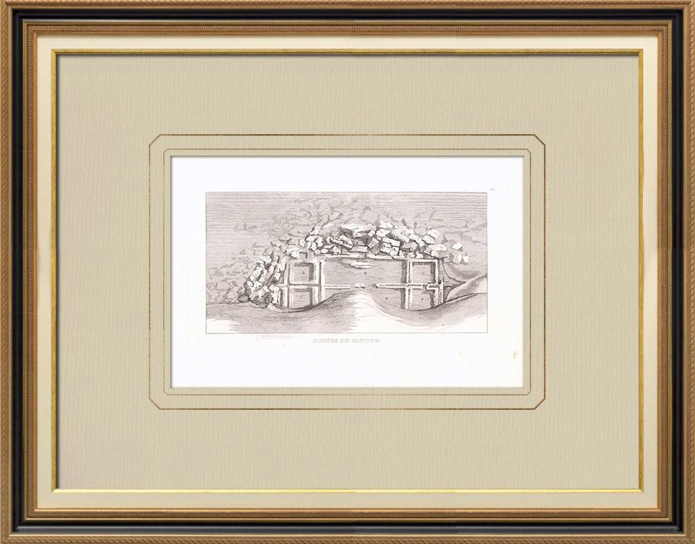 Oude Prenten & Tekeningen | Ruïnes van Canopus - Alexandrië - Napoleontische Campagne in Egypte (1801) | Kopergravure | 1830
