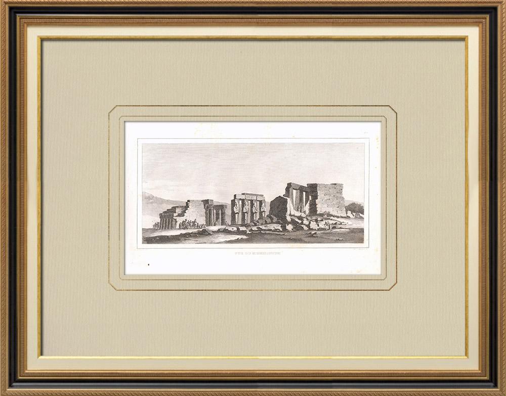 Antique Print & Etching | Memnonium im Theben (Ägypten) | Kupferstich | 1830