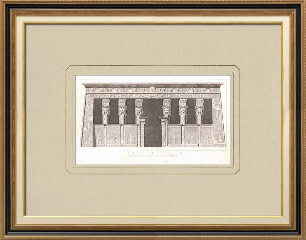 Oude Prenten & Tekeningen | Portiek van de Dendera-tempel - Tentyris (Egypte) | Kopergravure | 1830