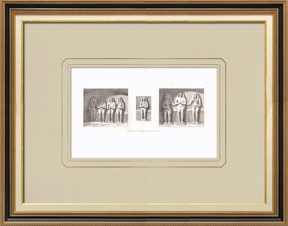 Gravuras Antigas & Desenhos   Arte egípcia - Esculturas - Pedreiras de Silsilis (Egito)   Gravura em buril sobre cobre   1830
