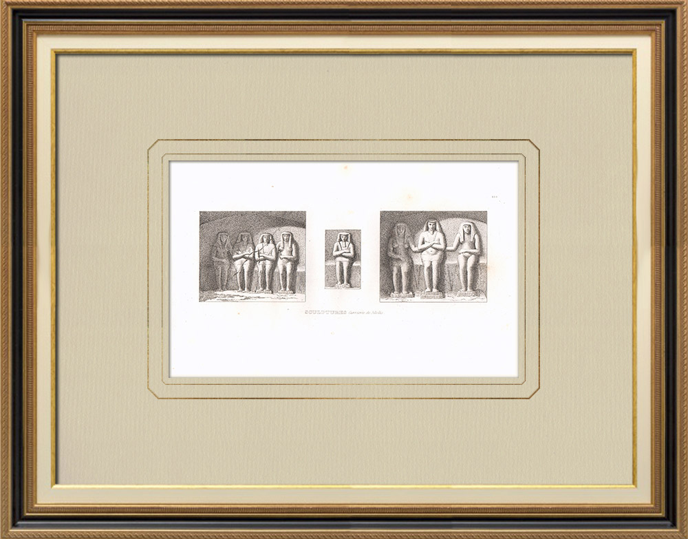 Antika Tryck & Ritningar | Egyptisk konst - Skulpturerna - Stenbrott i Silsilis (Egypten) | Kopparstick | 1830