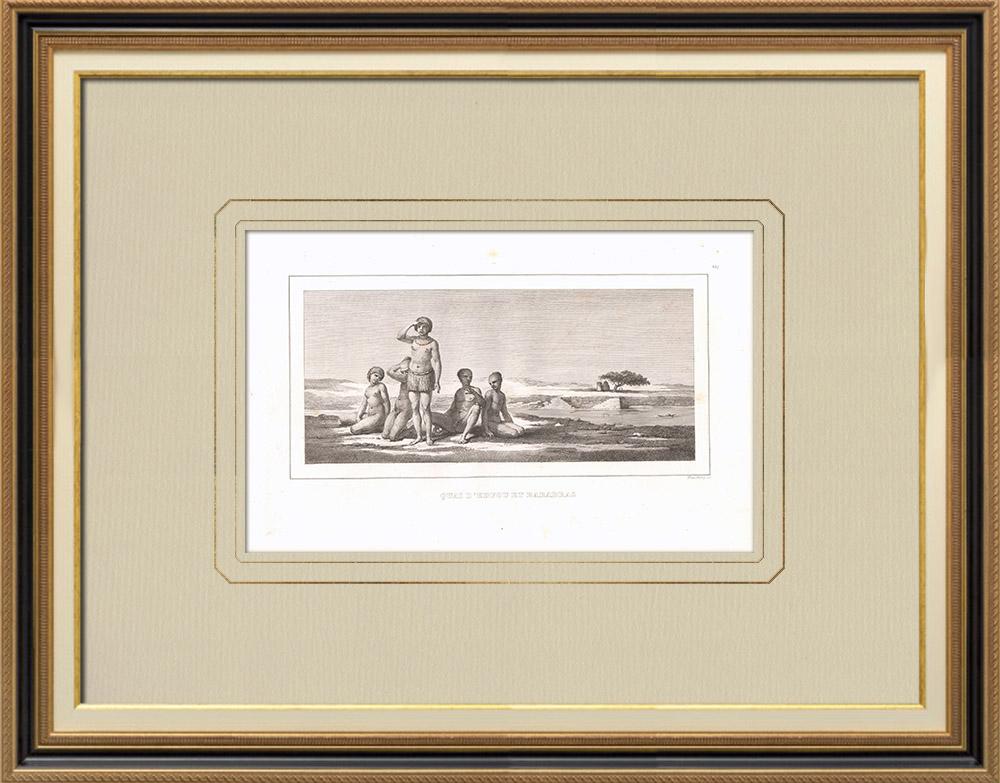 Antika Tryck & Ritningar   Barabras i Edfu (Egypten)   Kopparstick   1830