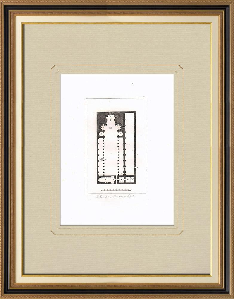 Antika Tryck & Ritningar | Karta över det Monastère blanc St Shenoute i Sohag (Egypten) | Kopparstick | 1830