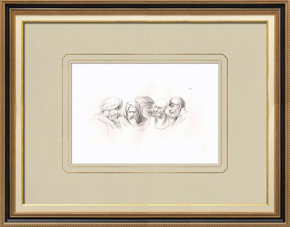 Gravures Anciennes & Dessins | Portraits d'Arabes - Kaimacan de Kénèh - Fellah (Egypte) | Gravure sur cuivre | 1830