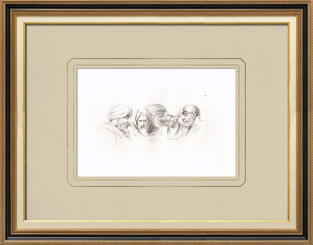 Antique Prints & Drawings | Arabian portraits - Kaimacan from Kénèh - Fellah (Egypt) | Copper engraving | 1830