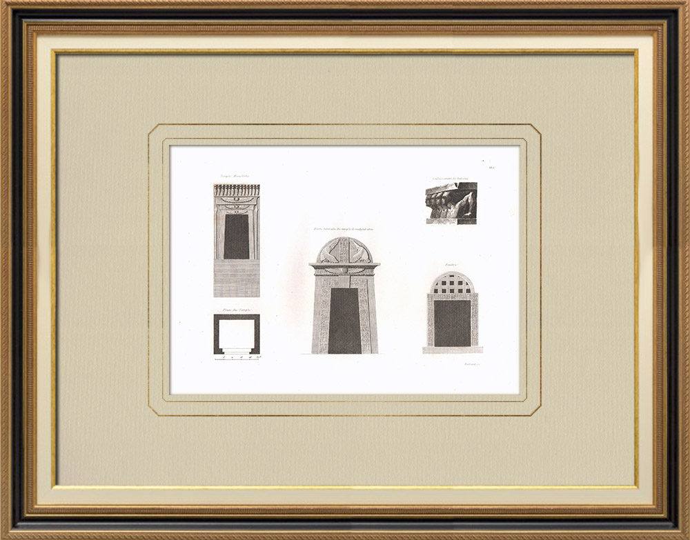 Antique Prints & Drawings | Egyptian architecture - Temple - Door - Window (Egypt) | Copper engraving | 1830